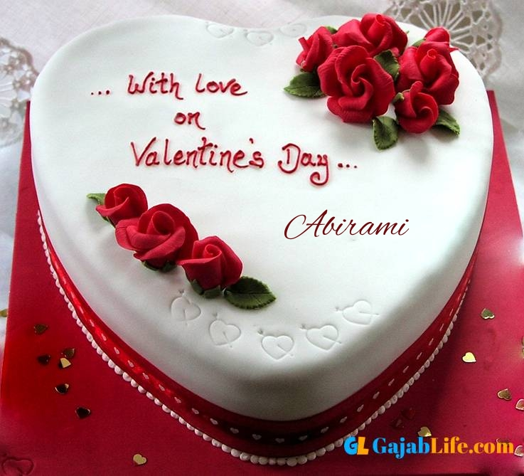 Abirami romantic special happy valentine cake with name and photo