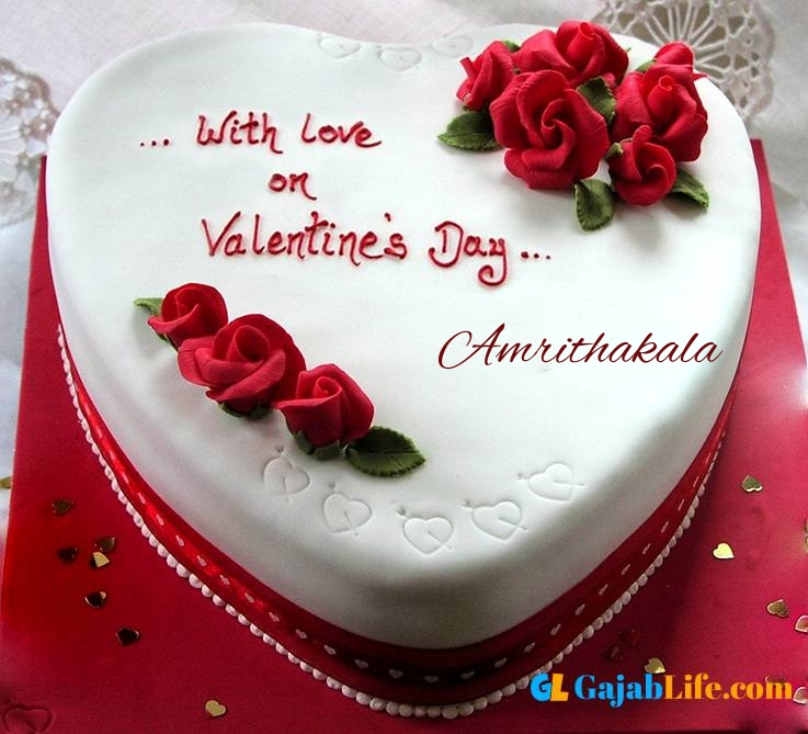 Amrithakala romantic special happy valentine cake with name and photo