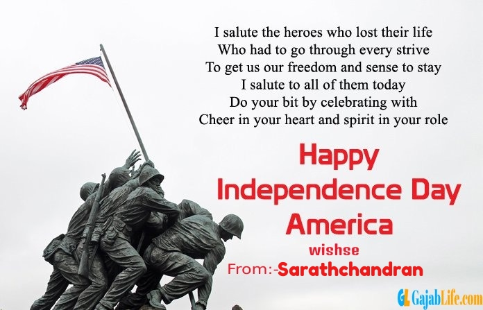 Sarathchandran american independence day  quotes
