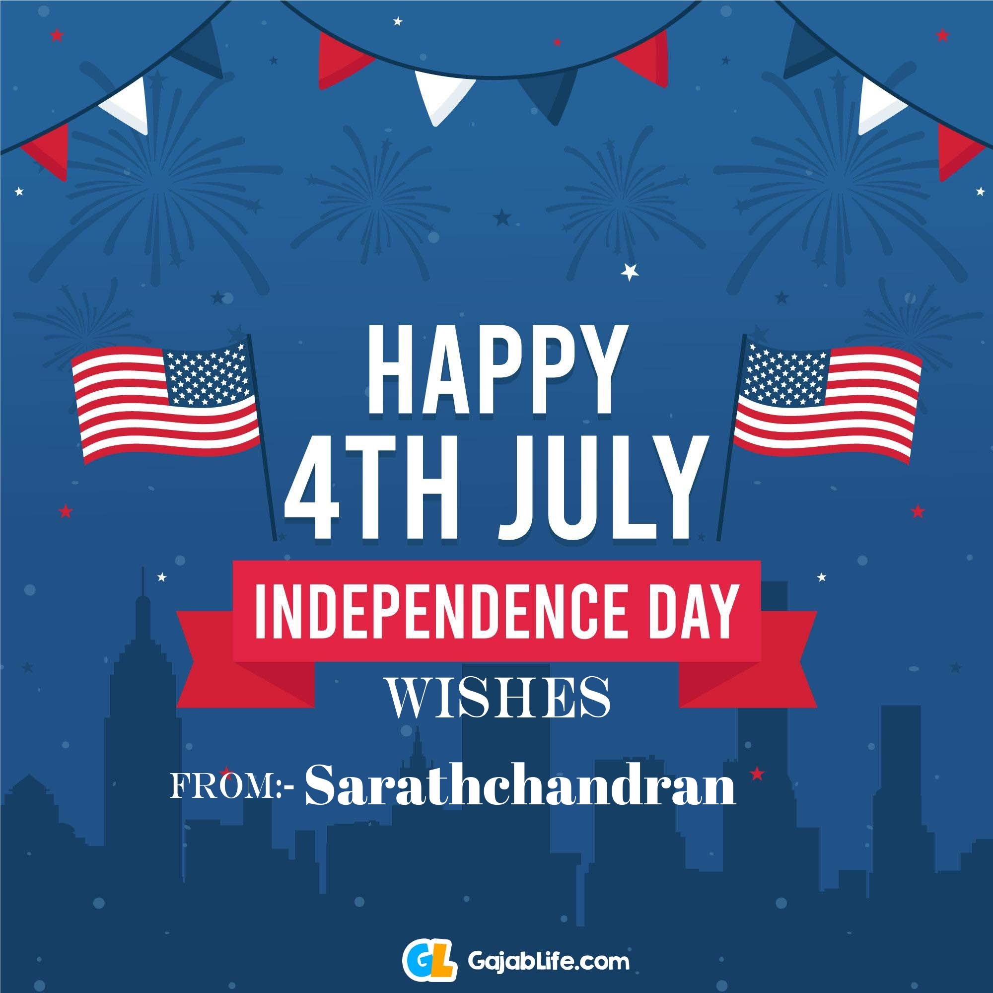 Sarathchandran happy independence day united states of america images