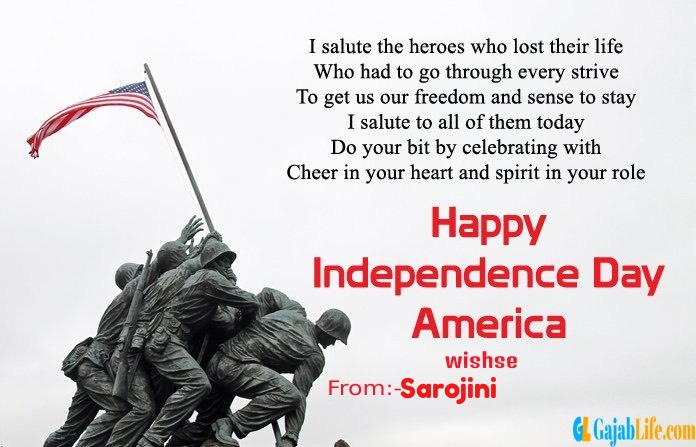 Sarojini american independence day  quotes