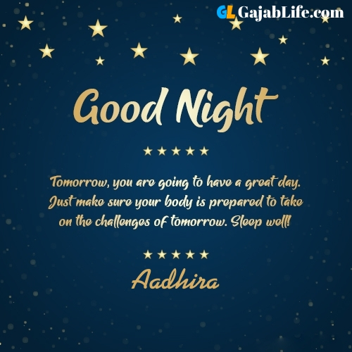 Sweet good night aadhira wishes images quotes