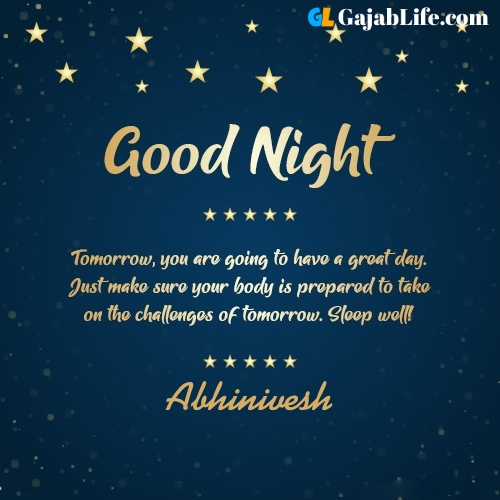 Sweet good night abhinivesh wishes images quotes