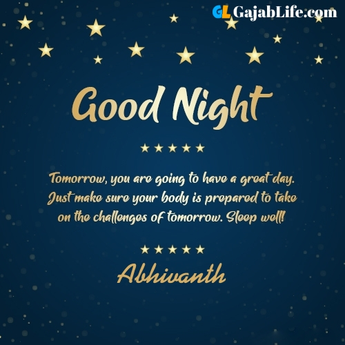 Sweet good night abhivanth wishes images quotes