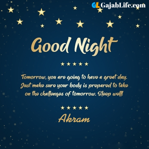 Sweet good night akram wishes images quotes