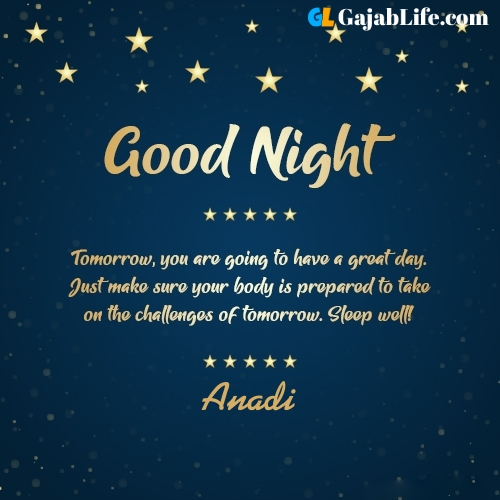 Sweet good night anadi wishes images quotes