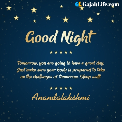 Sweet good night anandalakshmi wishes images quotes