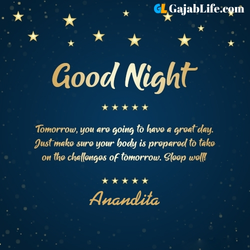 Sweet good night anandita wishes images quotes