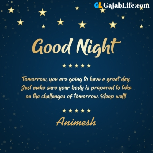 Sweet good night animesh wishes images quotes