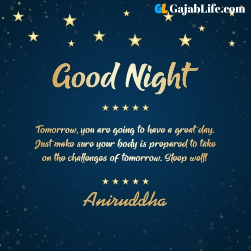 Sweet good night aniruddha wishes images quotes