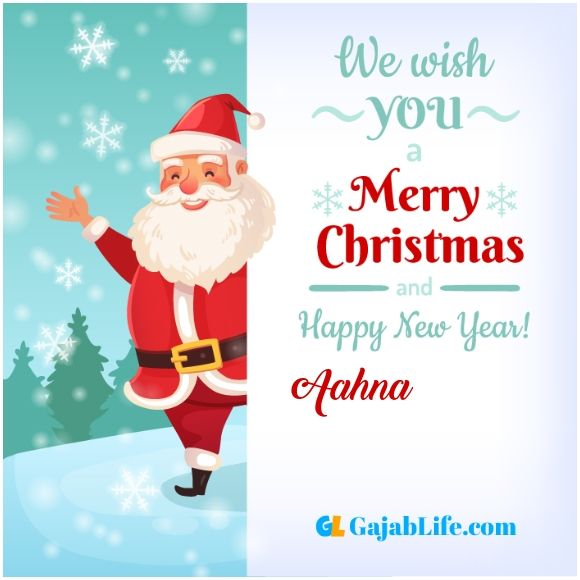 We wish you a merry christmas aahna image card with name and photo
