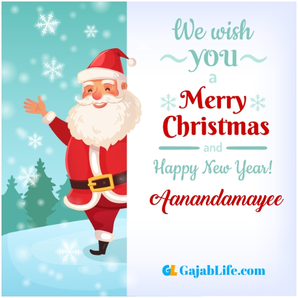 We wish you a merry christmas aanandamayee image card with name and photo