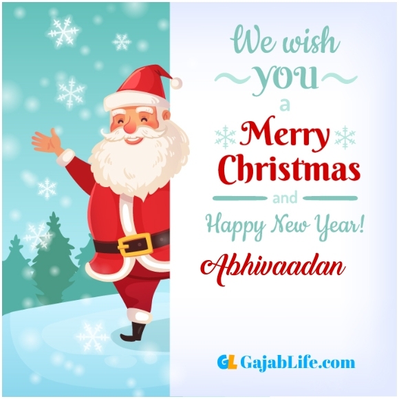 We wish you a merry christmas abhivaadan image card with name and photo