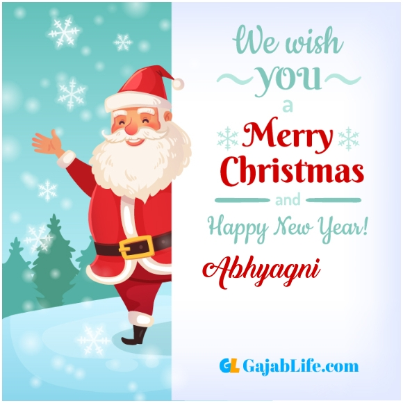 We wish you a merry christmas abhyagni image card with name and photo