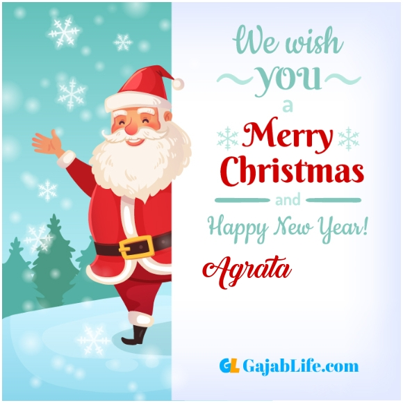 We wish you a merry christmas agrata image card with name and photo