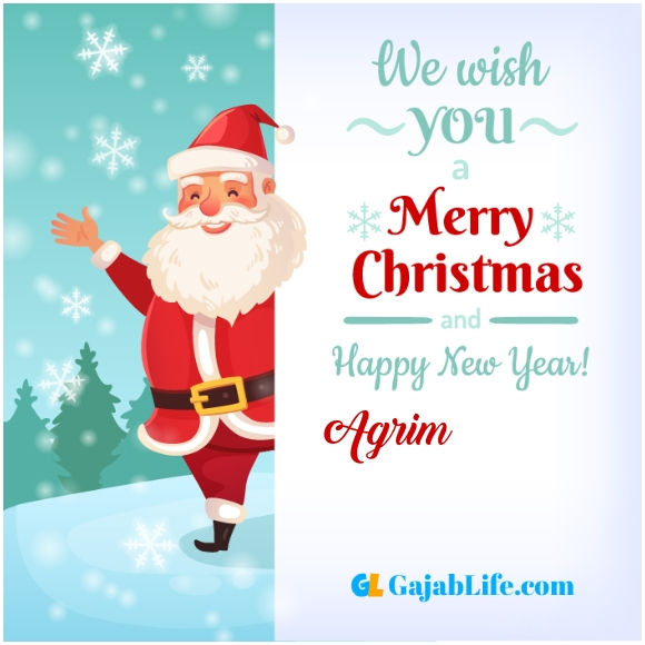 We wish you a merry christmas agrim image card with name and photo
