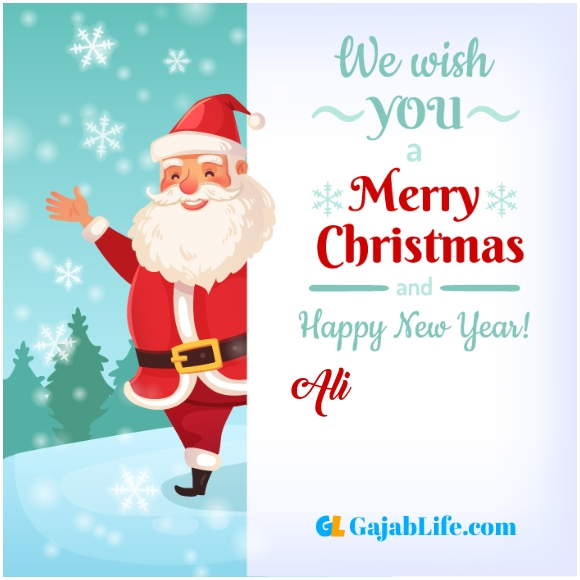 We wish you a merry christmas ali image card with name and photo