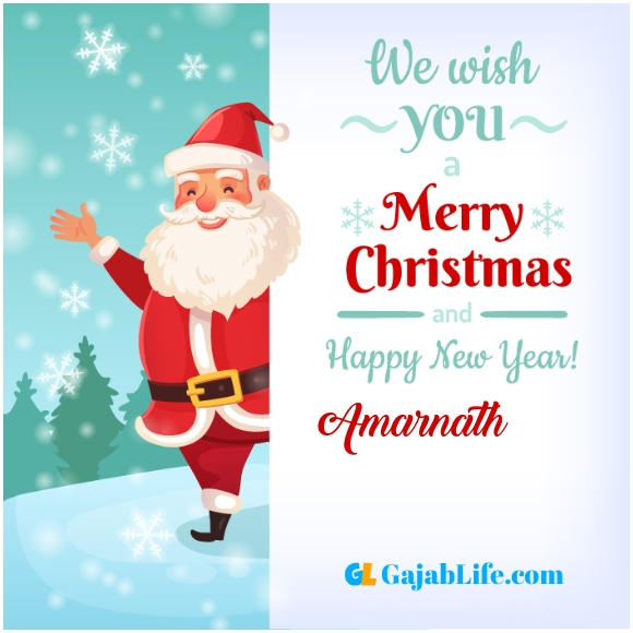 We wish you a merry christmas amarnath image card with name and photo
