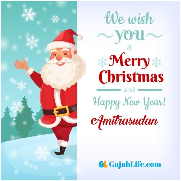 We wish you a merry christmas amitrasudan image card with name and photo