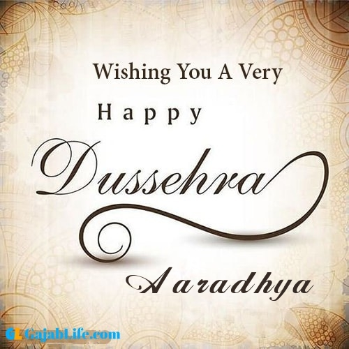 Aaradhya write name on happy dussehra image