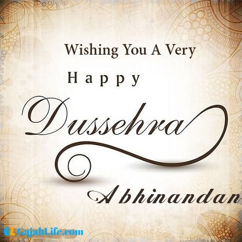Abhinandan write name on happy dussehra image
