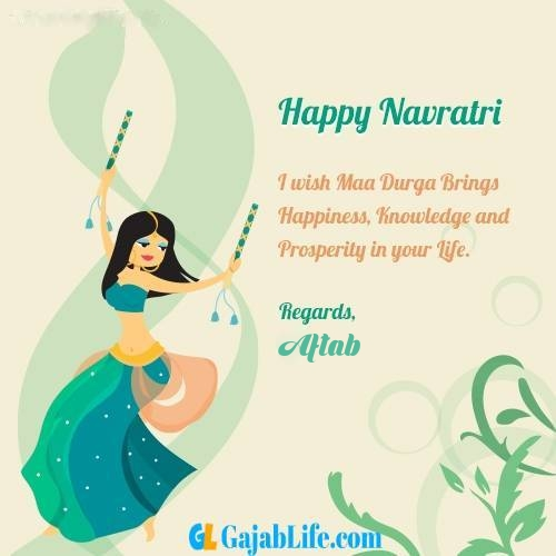 Aftab write name on happy navratri images